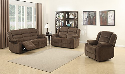 AC Pacific Bill Collection Contemporary 3Piece Living Room Upholstery Sofa Set with 5 Recliners, Sofa, Loveseat & Reclining Chair, Brown