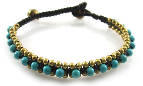 MGD, Blue Turquise Color Bead With Golden Beads and Brass Bell Bracelet. Beautiful Handmade Stone Wrap Bracelet Made From Wax Cord. Fashion Jewelry for Women, Teens and Girls., JB-0100