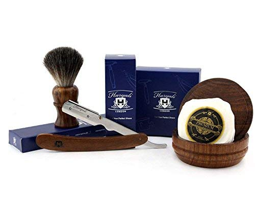 4 PCs Wooden Shaving Set with Straight Cut Throat/Shavete Razor, Black Badger Look Alike Synthetic Hair Brush with Soap & Bowl. Perfect Set in Rose Wood. Haryali London