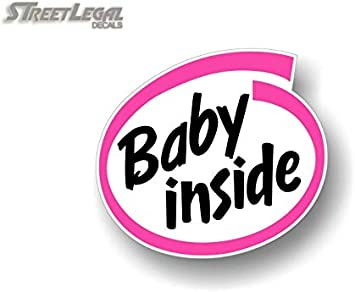 Pink Design Baby Inside Baby On Board 5 Vinyl Decal Intel Parody Stickers Car Safety Cute Design Kids Onboard Caution Warning Sign Sticker Decals