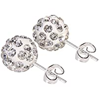 Bobury 1 pair Women Lady Round Alloy Crystal Ball Elegant Ear Stud Earrings