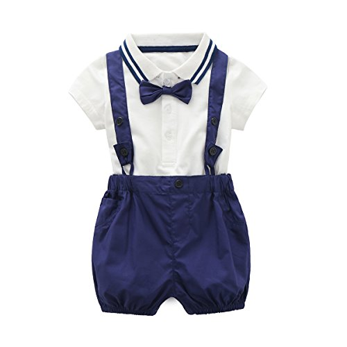Bib Pants Shirt (Baby Boys Gentleman Outfits Suits, Infant Short Sleeve Shirt+Bib Pants+Bow Tie Overalls Clothes Set)