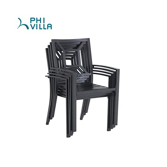 "PHI VILLA 5 Piece Outdoor Patio Dining Set, Square Metal Slatted Table with 1.57"" Umbrella Hole & 4 Metal Chairs for… - 1 METAL TABLE - Metal dining table with thick slat metal tabletop, rust and weather resistant. Powder-coated wood like finish, can be easily cleaned up with damp cloth and water. Skid resistant feet for uneven ground and against floor scratching. Dimensions: 37""L x 37""W x 28""H. 4 METAL PATIO CHAIRS - Made of lightweight steel with exquisite black e-coating, more stable and sturdy, supports 300 lbs. The height of backrest and seat is ergonomically designed, spacious and comfortable for six people family dinner and party. Also can be stacked for easy storage. ELEGANT DESIGN - The 5 piece outdoor dining table set beautifully transforms any backyard, porch, balcony or deck into an elegant dining area with its superior quality & deep comfort feel. Match any decor and suitable for outdoor and indoor use. - patio-furniture, dining-sets-patio-funiture, patio - 41cyEK37N L. SS570  -"