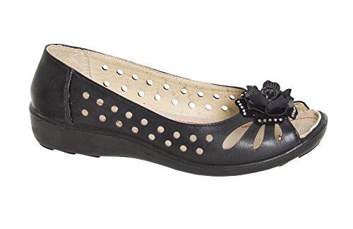 Fashion Friendly Ladies Black Open Toe Slip On Shoes Y4cHMBRq