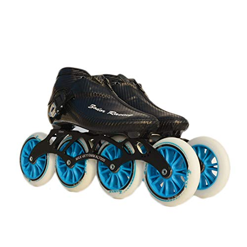 器具繊細存在するNUBAOgy インラインスケート、90-110ミリメートル直径の高弾性PU車輪、子供のための調整可能なインラインスケート、2色で利用可能 (色 : 黒, サイズ さいず : 41)
