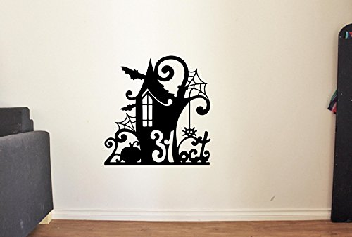 Advanced store Halloween House Vinyl Wall Decals Cemetery Bats Pumpkin Castle Ghost Halloween Decor Stickers Vinyl Mural -