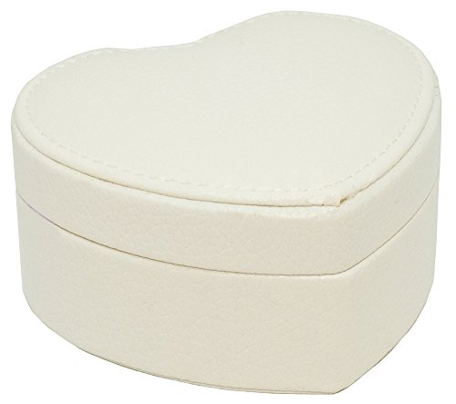 Haysoms Small White Heart Shape Faux Leather Jewellery Box with Mirror ()