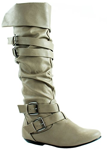 Forever Womens Tamika-42 Faux Leatherette Knee High Boots With Thin Buckle Straps Taupe 75ed2Z3jDF