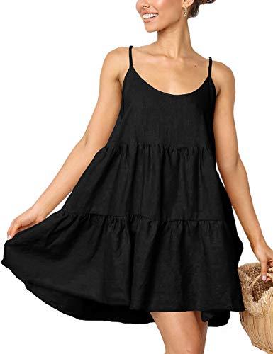 LOMON Strap Cute Summer Dress Swimsuit Coverups Casual Swing Dress for Women(Black,M)