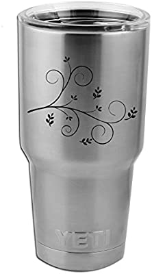 Pretty Floral Branch Vinyl Sticker Decal For Yeti Mug Cup Thermos Pint Glass 4 Wide Decal Only No Cup