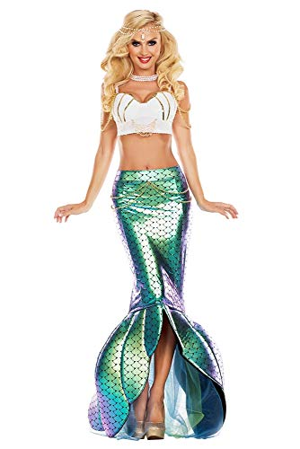 Party King Women's Under The Sea Mermaid Costume, Turquoise/White, Small -