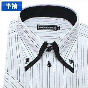 2重襟ボタンダウングレージャガードストライプ半袖ワイシャツ半袖シャツメンズ半袖ワイシャツYシャツMサイズ