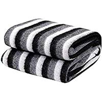 SELLPOINT® Single Bed AC Fleece Stripe Blanket (60x90 Inches; Black and White)