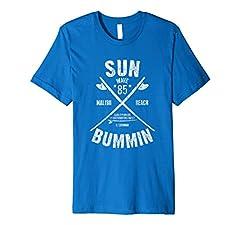 Malibu Beach California Surfboard T-Shirt. Sun Bummin Beach Bum Shirt. Famous Beaches of the World Ocean tshirt. Funny Vacation Shirts for spring break or summer on the water.