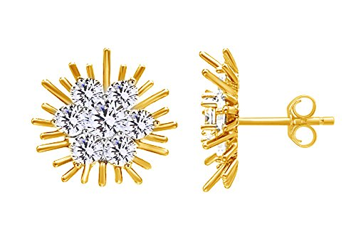 Round White CZ Starburst Cluster Stud Earrings In 14K Yellow Gold Over Sterling Silver ()