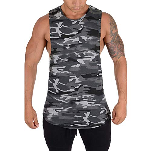 - Men's Tank Top,Camo Workout Vest Gym Bodybuilding Shirts Quick-Dry Muscle Blouse Regular Fit Tops Summer O Neck Tunic