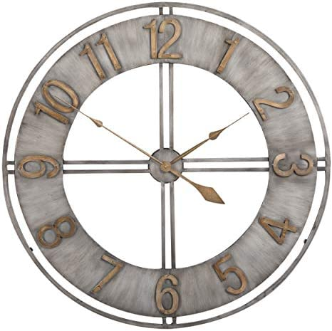 Studio Designs Home Industrial Loft 30 Inches Metal Wall Clock, Steel Bronze