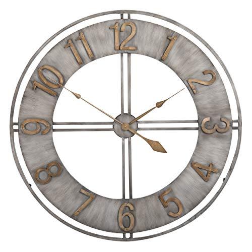 Studio Designs Home Industrial Loft 30 Inches Metal Wall Clock, Steel Bronze