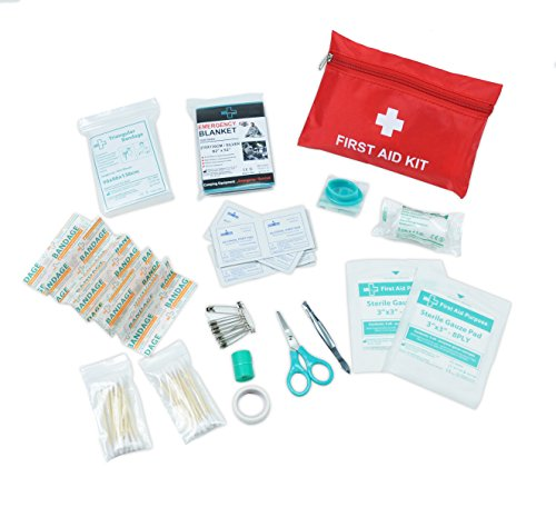 Premium Mini Small First Aid Kit Bag 63 piece - Includes Emergency Blanket, CPR face mask, Scissors for Travel, Home, Office, Car, Camping, Workplace (Kit Personal Cpr)