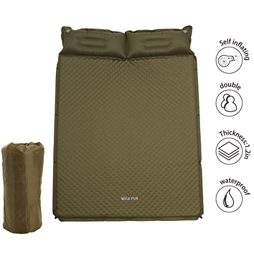 (WILD FUN 2 Person Double Self-Inflating Sleeping Pad with Pillow,Lightweight,75