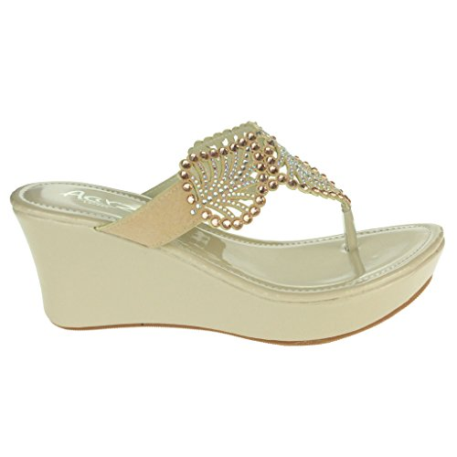 Mujer Señoras Diamante Detalle de hoja Toe Post Noche Casual Comodidad Ponerse Tacón de cuña Sandalias Zapatos Tamaño Albaricoque