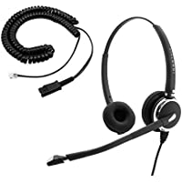 Cisco 7961, 7962, 7965, 7970, 7971, 7975, 7985 Phone Headset - Luxury Pro Swiveling Receiver Binaural Headset + RJ9 Cisco Adapter
