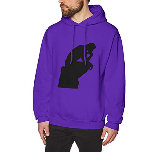AaAarr Men's French The Thinker Le Penseur Long Sleeve Hooded Sweatshirt Purple S