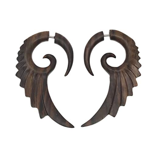 UMBRELLALABORATORY Tribal Organics Earrings Wooden Tropical Feathered Bird Style Fake Gauges W -