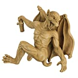 Design Toscano Gaston the Gothic Gargoyle Climber Hanging Statue, Medium, 13 Inch, Polyresin, Gothic Stone