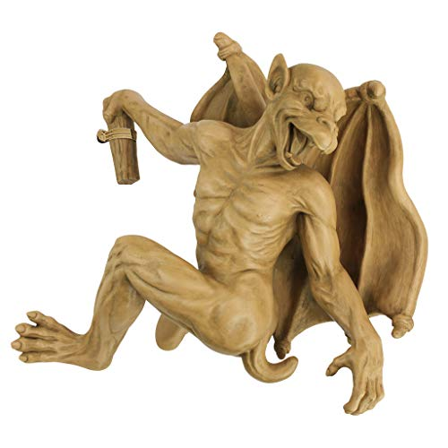 Design Toscano Gaston the Gothic Gargoyle Climber Hanging Statue, Medium, 13 Inch, Polyresin, Gothic Stone -