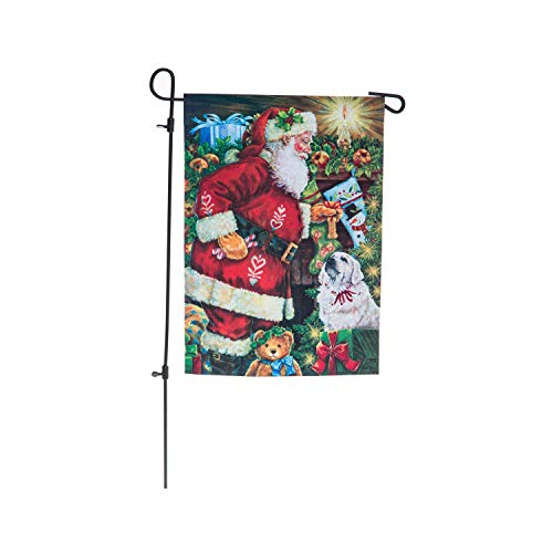 Goose Creek Santa Remembered Me Double-Sided Linen Blackout Garden Flag with Flag Pole Stand-12.5 W x 18 H