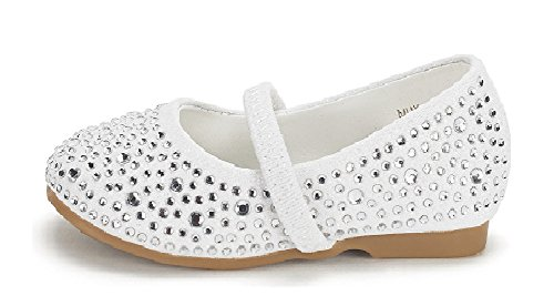 e Infant Mary Jane Casual Slip On Ballerina Flat Toddler New White Suede Size 10 (White Suede Rhinestone)