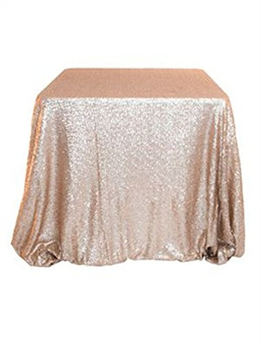 """TRLYC 48""""72"""" Sparkly Sequin Tablecloth--Champagne"""