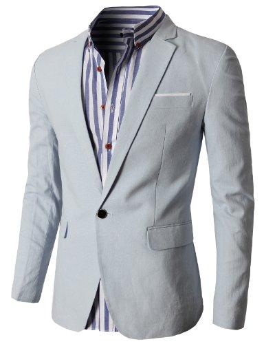H2H Mens Fashion Danndy Linen Blazer Jackets SKY US L/Asia ...