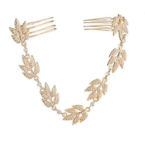 David Tutera Bridal Chain: Gold Grecian Leaves with Crystal Rhinestones Hair Accessory,]()