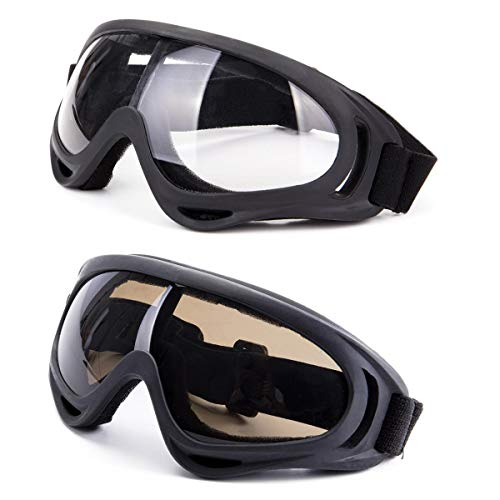 DODOING Ski Goggles, 2-Pack Snowboard Goggles with UV 400 Protection Windproof and Dustproof for Skate Motorcycle Bicycle Glasses for Kids, Boys & Girls, Youth, Men & Women -