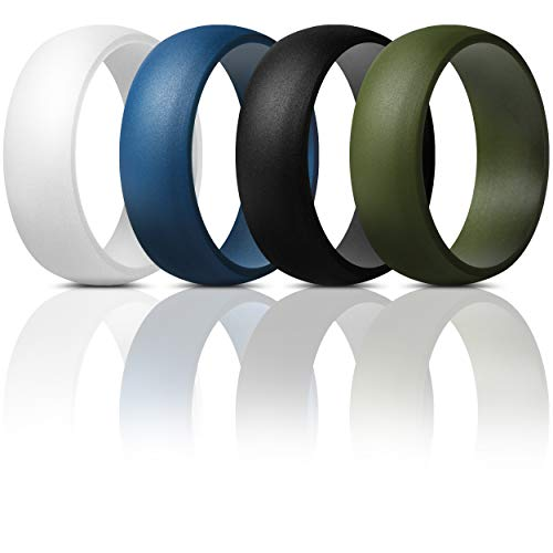 ThunderFit Mens Silicone Rings Wedding Bands - 4 Pack Classic & Middle Line (Dark Blue, Black, Olive, White, 8.5-9 (18.9mm))