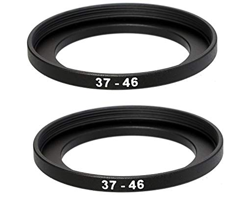 (2 Packs) 37-46MM Step-Up Ring Adapter, 37mm to 46mm Step Up Filter Ring, 37mm Male 46mm Female Stepping Up Ring for DSLR Camera Lens and ND UV CPL Infrared Filters