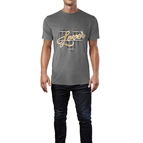 SINUS ART® Ethno Herz mit Aufschrift Lover Herren T-Shirts in Grau Charocoal Fun Shirt mit tollen Aufdruck