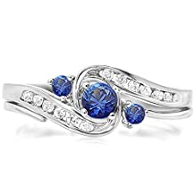 18K White Gold Round Blue Sapphire & White Diamond Ladies Swirl Bridal Engagement Ring Matching Band Set