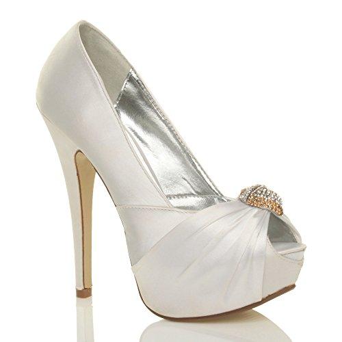 Ajvani Womens ladies bridal wedding peep toe high heel platform sandals court shoes pumps size White 8EOnZU