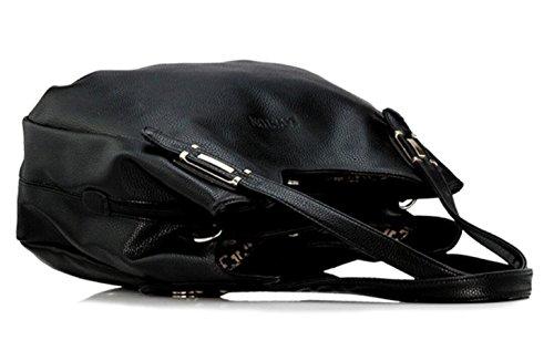Top Blue with Women Dark amp;Detachable Casual Strap Bagtopia Handle Leather Handbag Shoulder Zipper Bag Shoulder Tote qtUwdZzxd