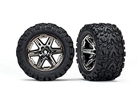 Traxxas 6773X - Rustler 4x4 Tires & Wheels, Assembled, glued (2 8') (RXT  Black Chrome Wheels, Talon Extreme Tires, Foam Inserts) (2) (TSM Rated)