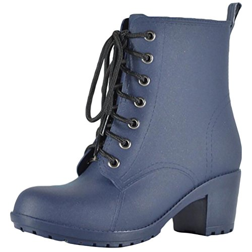 LvRao Women's High Heel Lace-Up Snow Rain Shoes Waterproof Booties High Ankle Short Boots Wellies Blue