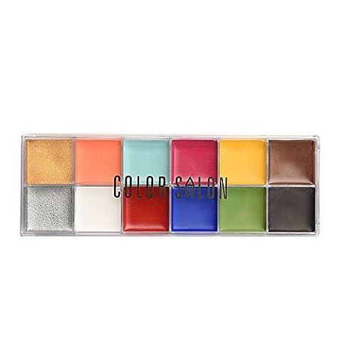 12 Color Body Paint Makeup, Profession Waterproof Body Face Oil Paint Makeup Palette Fancy Long Lasting Art and Party Painting Makeup Kit