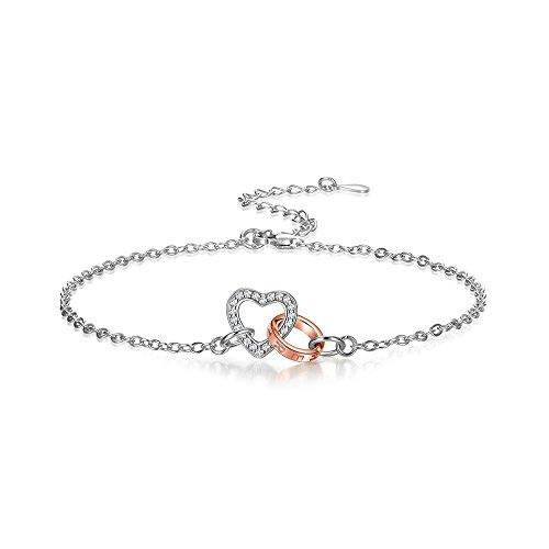 925 Sterling Silver Heart Connected Bracelet for Women (Interlocking Hearts Bracelet)