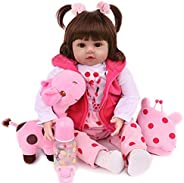 CHAREX Realistic Reborn Baby Dolls 18 inch Lifelike Weighted Toddler Girl Doll Soft Vinyl, 10-Piece Gift Set f
