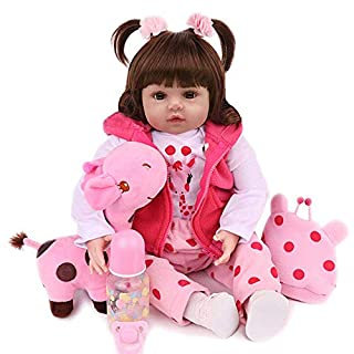 Realistic Reborn Baby Dolls 18 inch Lifelike Weighted Toddler Girl Doll Soft Vinyl, 10-Piece Gift Set for Children 3+
