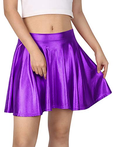 HDE Women's Solid Color Metallic Flared Pleated Club Skater Skirt (Purple, Medium) -