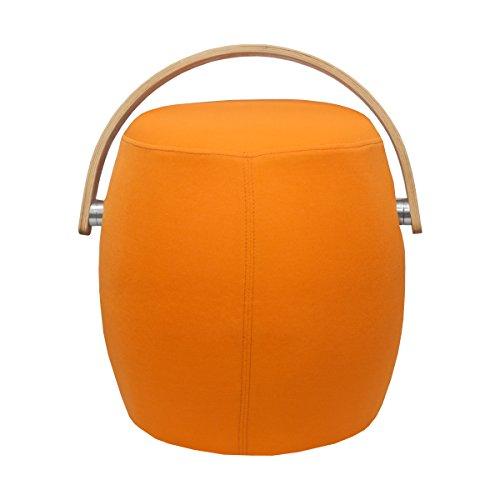 Ergo Furnishings Drum Upholstered Chair Stool Ottoman With Handle, Orange